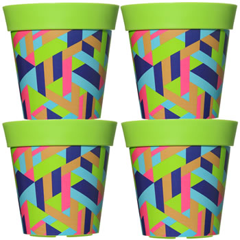 Image of 4 x 22cm Green Trapezoid Plastic Garden Planter 5L Flowerpot by Hum