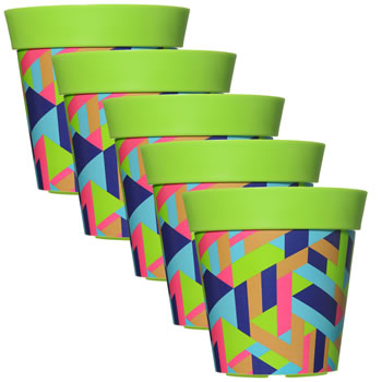 Image of 5 x 22cm Green Trapezoid Plastic Garden Planter 5L Flowerpot by Hum
