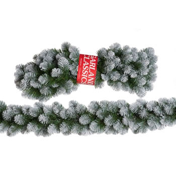 Image of Tree Classics 2.7m x 30cm Green Frosted Alaskan Garland Artificial (912-210-850F)