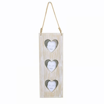 Image of Hanging Triple Heart Wooden Photoframe with Rope Hanger