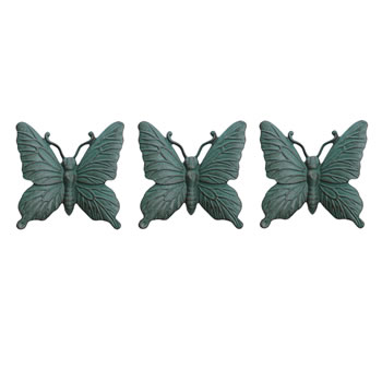 Image of Set of Three Wall Mountable Verdigris Cast Iron Butterfly Garden Ornaments