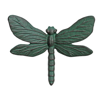 Image of Verdigris Cast Iron Dragonfly Wall Mountable Garden Ornament