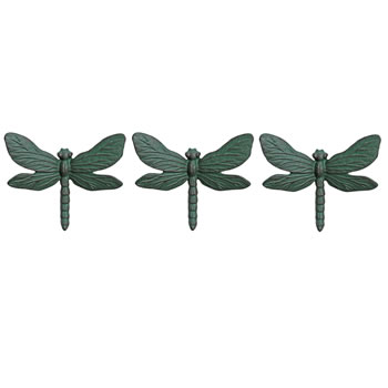 Image of Set of Three Wall Mountable Verdigris Cast Iron Dragonfly Garden Ornaments