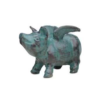 Extra image of Verdigris Cast Iron Flying Pig Garden Ornament