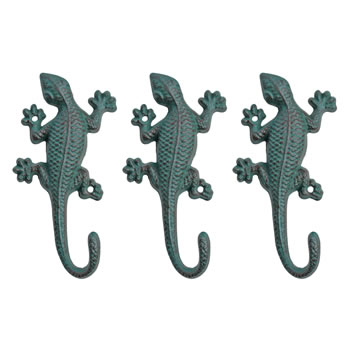 Image of Set of Three Verdigris Cast Iron Lizard Accessory Hook Garden Ornaments
