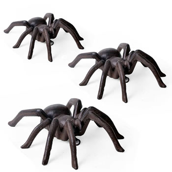 Image of 3 Large Wall Mountable Vintage Finish Cast Iron Tarantula Ornaments