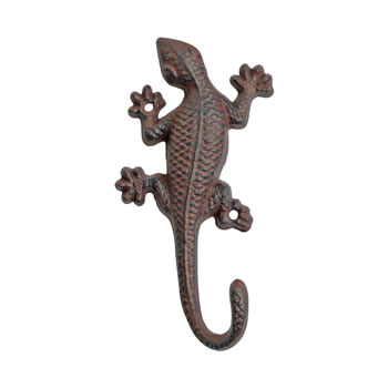 Image of Vintage Finish Cast Iron Lizard Accessory Hook Garden Ornament