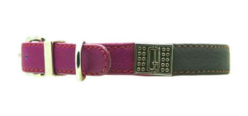 Image of D&H Decodent Leather Collar - Brown & Purple 42cm (neck 32-39cm)