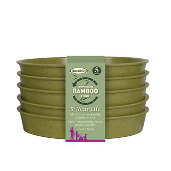 Image of Haxnicks Sage Green 13cm Bamboo Plant Saucers Biodegradable Compostable (Pack of 15)
