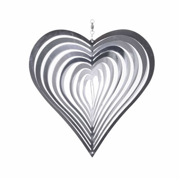 Image of Heart Shaped Steel Windspinner For The Garden