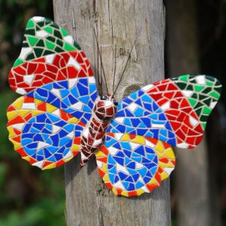 Image of Multi Coloured Mosaic Wall Mountable Butterfly Garden Wall Art Ornament