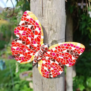 Image of Multi Coloured Mosaic Wall Mountable Red Butterfly Garden Wall Art Ornament