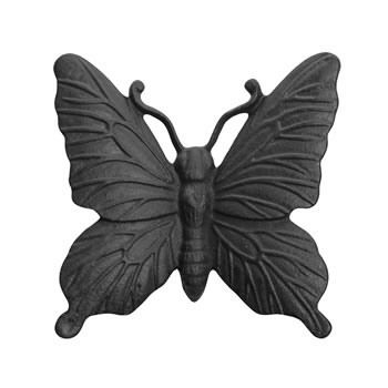 Image of Wall Mountable Cast Iron Butterfly Garden Ornament in Black Finish