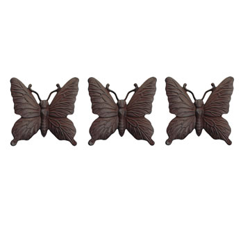 Image of Set of Three Wall Mountable Vintage Finish Cast Iron Butterfly Garden Ornament