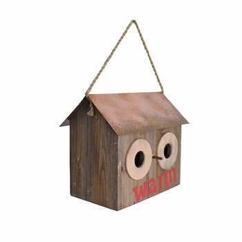 Image of Rustic 'Warm' Wooden Bird House with Metal Roof & Rope Hanger
