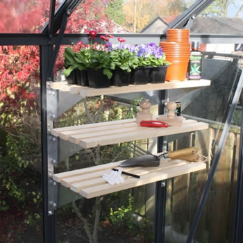 Image of Modular Greenhouse Shelving with Timber Slats (Pack of 3)