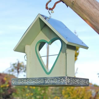 Image of Light Green Painted Garden Bird Feeder With Heart Shaped Apple Holder