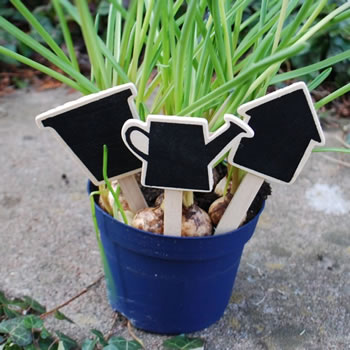 Extra image of Set of Three Wooden Blackboard 4.5in Garden Labels