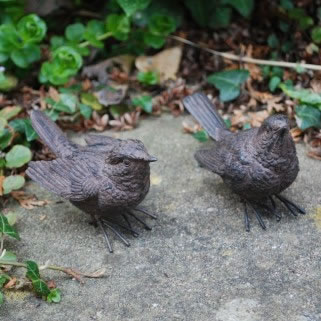 Extra image of Pair Of Wren Bird Ornaments For The Garden