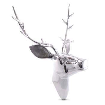 Image of Extra Large Polished Silver Aluminum Mountable Wall Art Stag's Head Feature