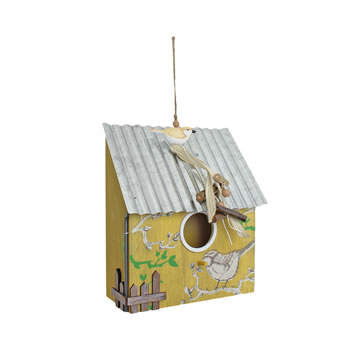 Image of Hanging Yellow Wooden Bird House with Corrugated Metal Roof