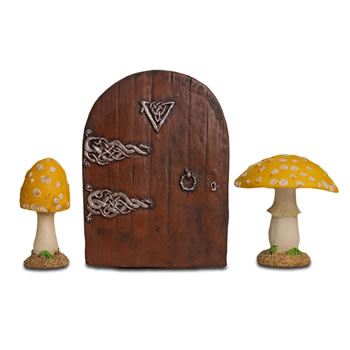 Image of Fairy Garden Starter Kit Set with Pair of Yellow Mushrooms & Fairy Door