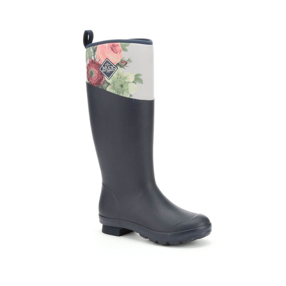 muck boot tremont tall wellingtons rhs print navy grey roses uk  eu