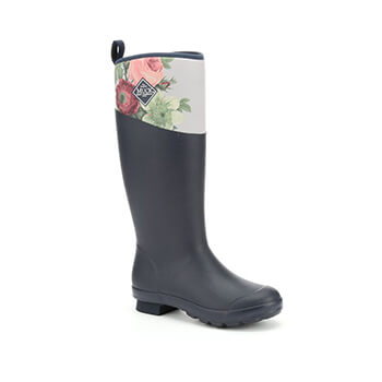 Image of Muck Boot Tremont Tall Wellingtons RHS Print - Navy / Grey Roses - UK 7 / EU 40/41