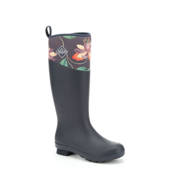 Image of Muck Boot Tremont Tall Wellingtons RHS Print - Navy / B&B Passiflora