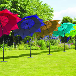 Small Image of Norfolk Leisure 2.7m Round Lotus Garden Parasol - Aqua