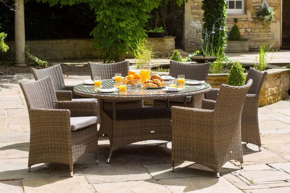 amber 6 seater round garden dining set 1299 garden4less uk shop
