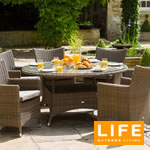 Small Image of Amber 6 Seater Dining Round Set from LIFE - Light Brown/Taupe