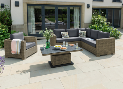 Image of LIFE Aya Square Corner Garden Furniture Set in Camel/Carbon