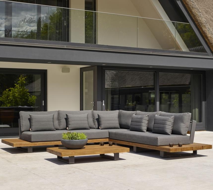 Life Fitz Roy Teak Lounge Corner Sofa Set In Lava Carbon 5759 Garden4less Uk Shop