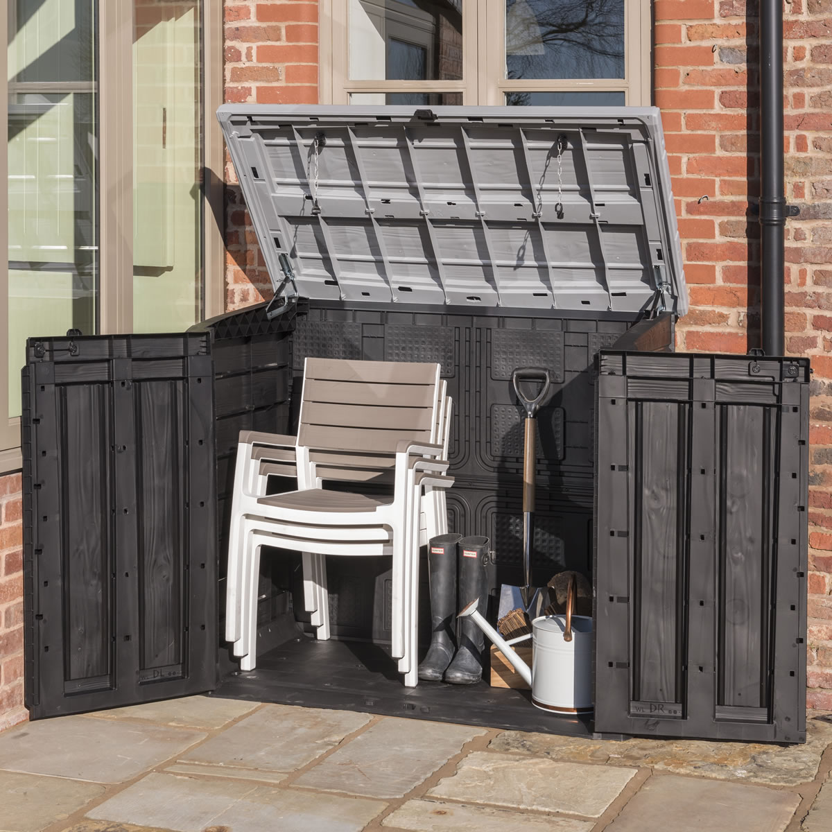 Extra image of Keter Hideaway XL Garden Storage Box - Anthracite