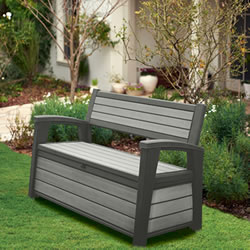 Small Image of Keter Hudson 260L Storage Bench - Grey