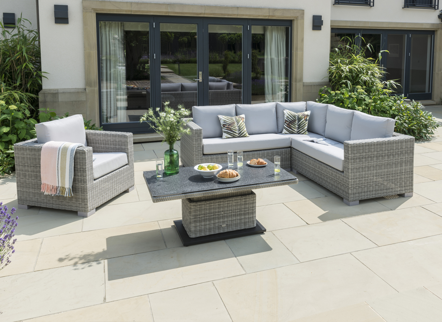 Life Aya Square Corner Garden Furniture Set In Yacht Mouse Grey