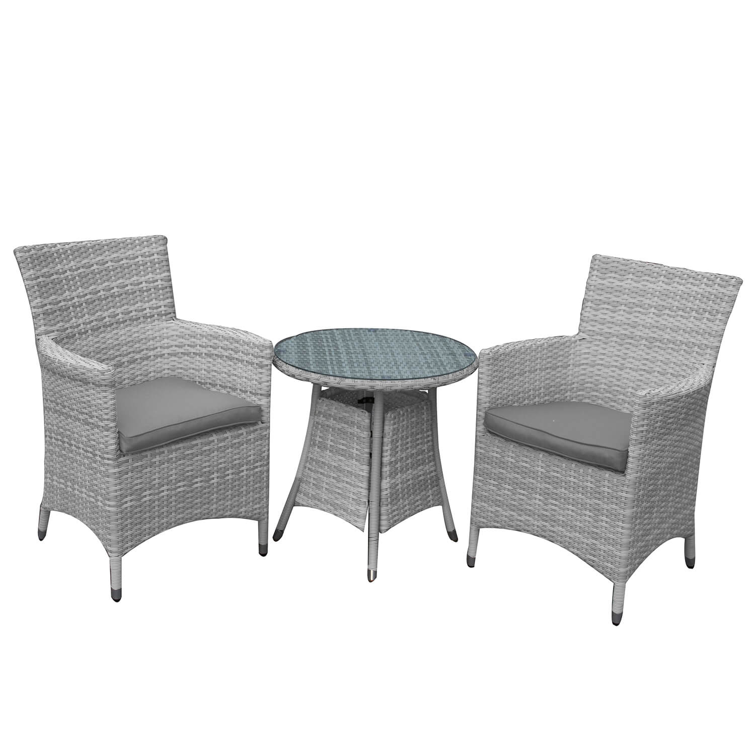 Atlanta 2 Seater Bistro Weave Furniture Set In Grey Mix