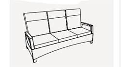 3 seater adjustable sofa - dimensions image