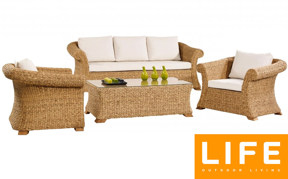 barucca rattan corn weave garden lounge sofa set 2000. Black Bedroom Furniture Sets. Home Design Ideas