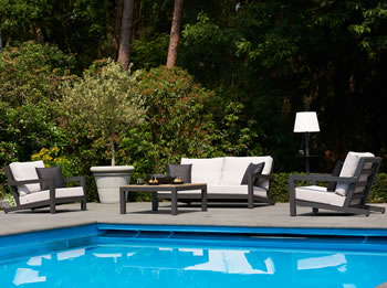 Image of LIFE Block Lounge Garden Furniture Set in Carbon/Lava