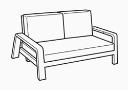 2 seater adjustable bench - dimensions image