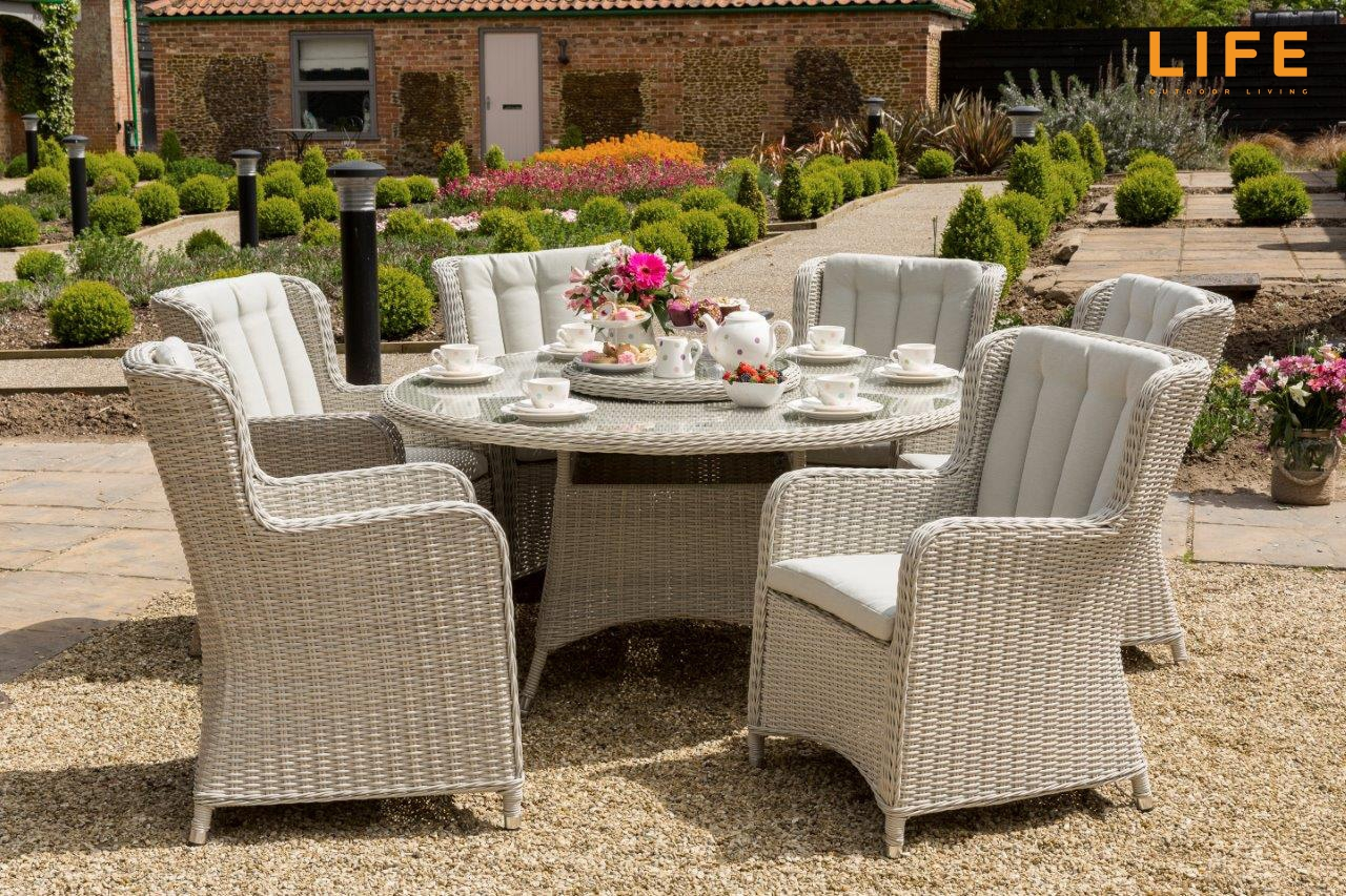 King 6 Six Seater Rattan Weave Dining Set In Mousy Grey