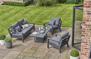 Image of LIFE Timber Aluminium Lounge Sofa Set with Adjustable Table in Lava/Carbon
