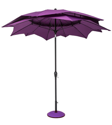 Image of Norfolk Leisure 2.7m Round Lotus Garden Parasol - Purple