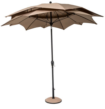 Image of Norfolk Leisure 2.7m Round Lotus Garden Parasol - Taupe