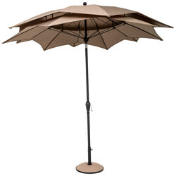 Small Image of Norfolk Leisure 2.7m Round Lotus Garden Parasol - Taupe