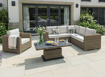 Image of LIFE Aya Square Corner Garden Furniture Set in Camel/Khaki
