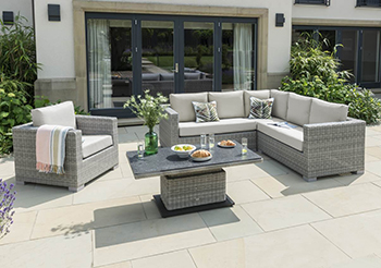 Image of LIFE Aya Square Corner Sofa Garden Furniture Set in Yacht Grey/Khaki