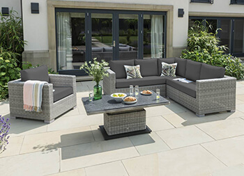 Image of LIFE Aya Square Corner Garden Furniture Set in Yacht Grey/Carbon